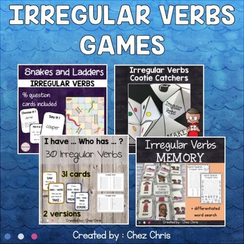 couverture du bundle consacré aux jeux sur les verbes irréguliers en anglais