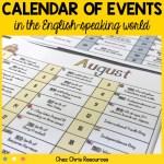 couverture de l'éphéméride des évènements et des fêtes dans le monde anglophone
