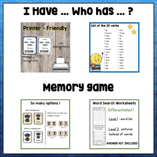 """Vignette sur les jeux sur les verbes irréguliers: le memory et le """"J'ai qui a?"""""""