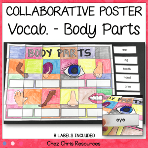 Body Parts Vocabulary Collaborative Poster