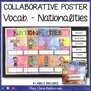 Nationalities Vocabulary Collaborative Poster