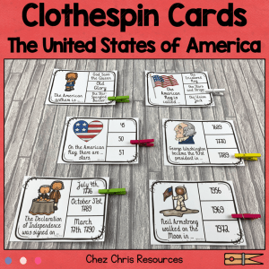 The United States of America Clothespin Clip Cards