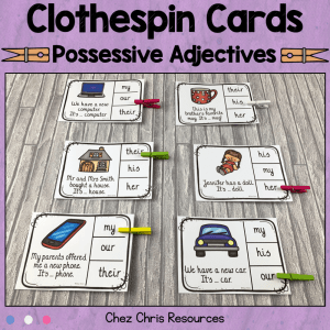 Possessive Adjectives Clothespin Clip Cards