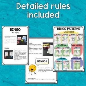 vignette du règlement du bingo du matériel scolaire en anglais