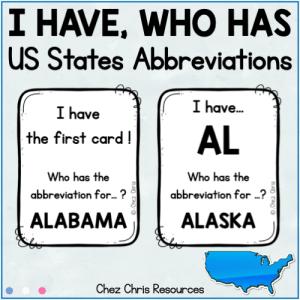 """Couverture du jeu """"J'ai qui a"""" consacré aux abréviations des états américains"""