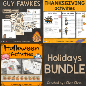 Holidays Activities – Halloween, Guy Fawkes and Thanksgiving
