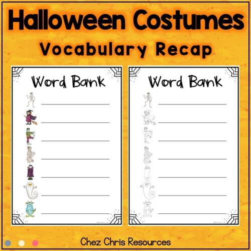 image montrant le vocabulaire utilisé dans la ressource consacrée au dominos d'Halloween