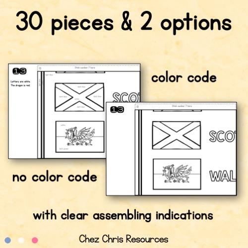 Poster collaboratif : la carte des iles britanniques - des instructions claires d'assemblage; code couleur ou non indiqué