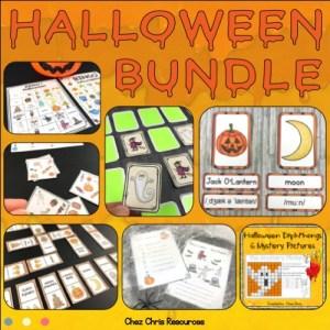 couverture du bundle d'activités consacrées au vocabulaire d'Halloween en anglaisvocabulaire d'