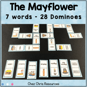 Thanksgiving and the Mayflower Vocabulary Dominoes