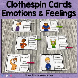 Emotions and Feeling Clothespin Clip Cards