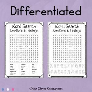 Images de la grille de mots cachés différenciée consacrée au vocabulaire des émotions en anglais