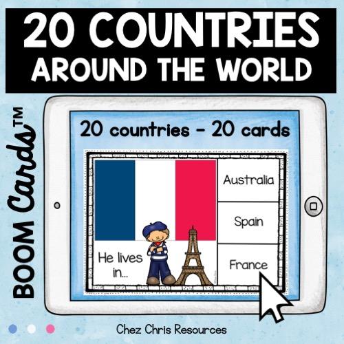 les pays en anglais avec les boom cards: 20 pays - 20 cartes dans ce deck - vignette 1
