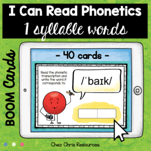 BOOM Cards : I can read phonetics ! 1 syllable words