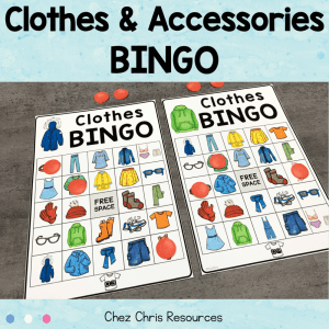 Clothes and Accessories Vocabulary Bingo
