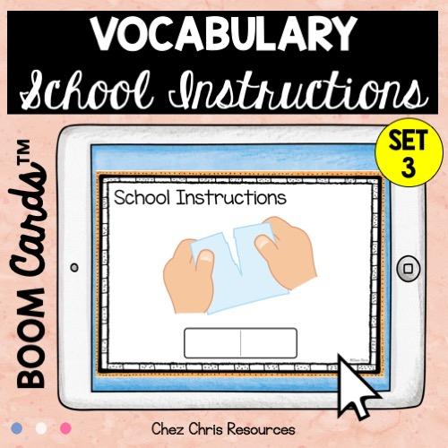 les consignes de classe en anglais avec les boom cards: écrire le mot qui correspond à l'image (ici: déchirer)
