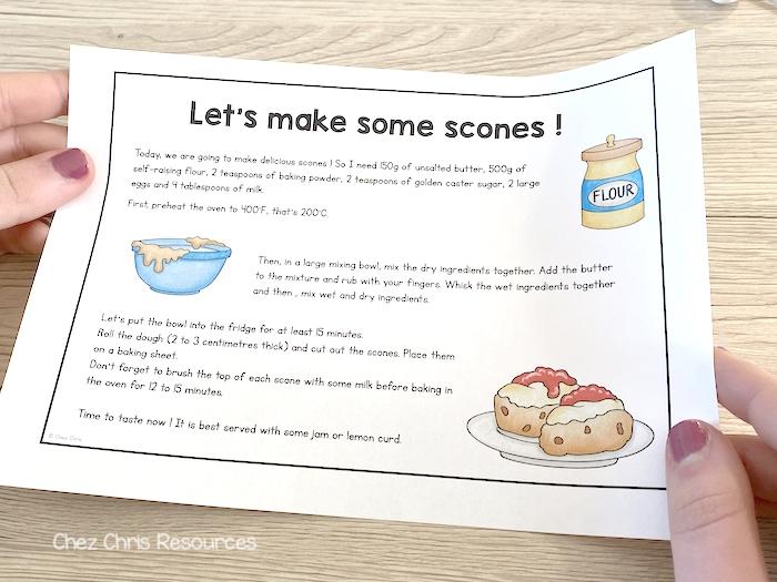Texte pour la lecture à voix haute : la recette des scones