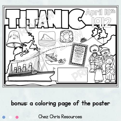 image du poster collaboratif sur le Titanic à colorier