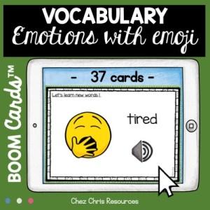 vignette 1 sur la ressource les émotions en anglais avec les boom cards. Un exemple de carte
