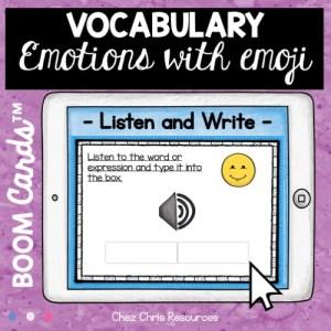 couverture de la ressource boom cards sur les émotions en anglais: les élèves écoutent et écrivent le mot entendu