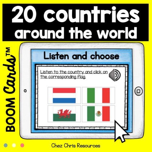 couverture de la ressource sur les pays en anglais et leur drapeaux respectifs