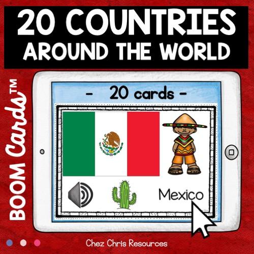 Vignette 2 sur les pays du monde: phase de découverte des noms des pays avec drapeau en anglais