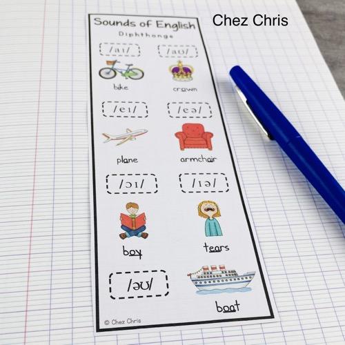 les marque-pages des symboles phonétiques à coller dans le cahier d'anglais