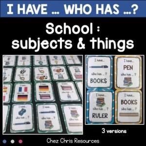 """Couverture du jeu """"J'ai qui a"""" consacré aux matières et aux fournitures scolaires en anglais"""