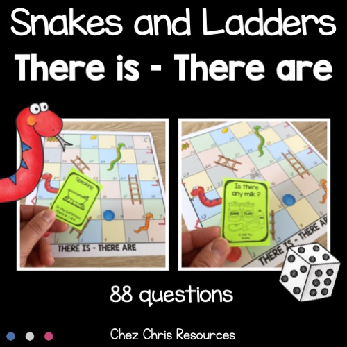 vignette du jeu Snakes and Ladders There is, There are, il y a en anglais