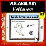 couverture du premier set de boom cards consacré au vocabulaire d'Halloween en anglais.