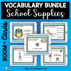 les fournitures scolaires en anglais avec les boom cards: un bundle de 5 ressources pour maîtriser le vocabulaire spécifique