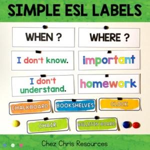 couverture de l'ensemble d'étiquettes pour la salle d'anglais