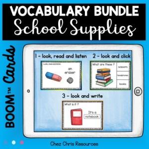 Les types d'activités contenues dans le bundle consacré au vocabulaire des fournitures scolaires