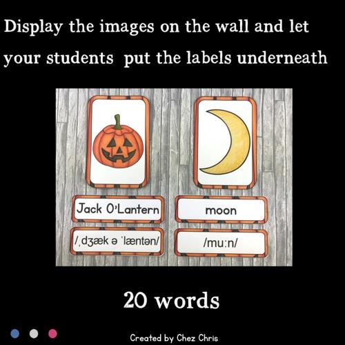 vignette du word wall words consacré à Halloween
