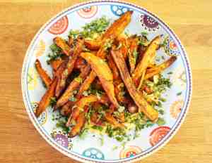 Honey and cumin roasted sweet potato fries are sweet and earthy. They make a great side dish in the summer for barbecues but why not eat them all year?