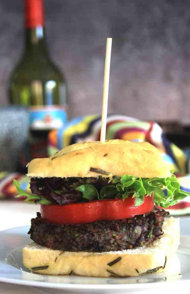view of black bean mushroom burger