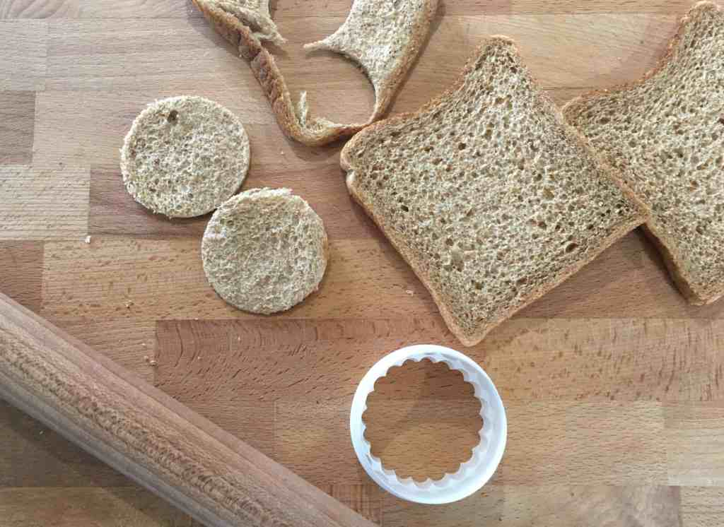 slices of bread with circles cut out
