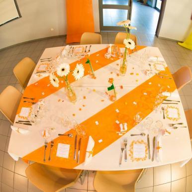 mariage lego table orange