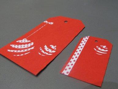 étiquettes cadeaux rouges Noël boule