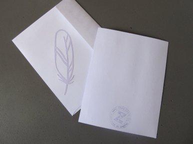 carte à plume verso et enveloppe