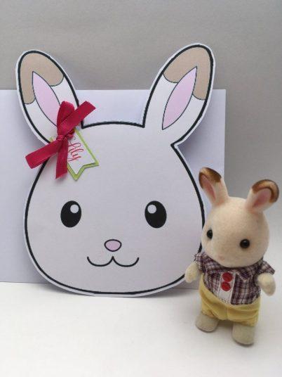 invitation d'anniversaire sylvanian tête de lapin chocolat