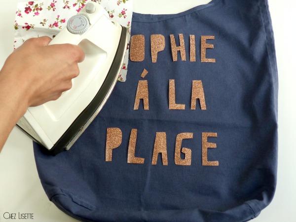 Chez Lisette DIY sac en tissu de plage repasser
