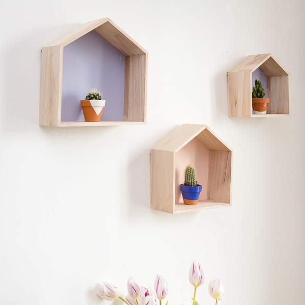 Lookbook Prêt-à-Créer étagères maisons en bois