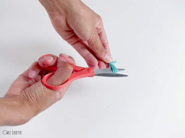 chez lisette diy bracelet ananas pompon couper
