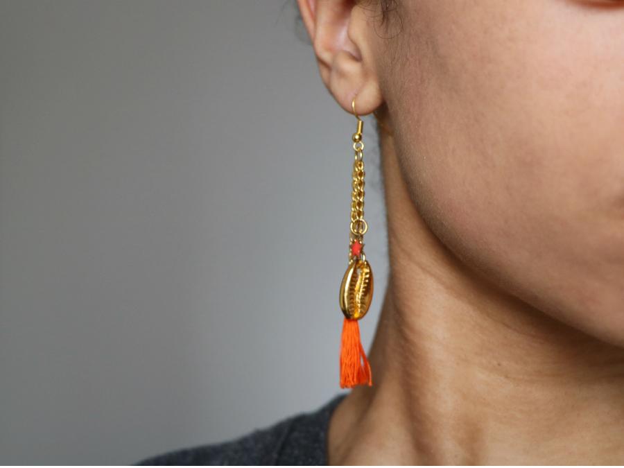 DIY boucles d'oreilles cauris - Chez Lisette