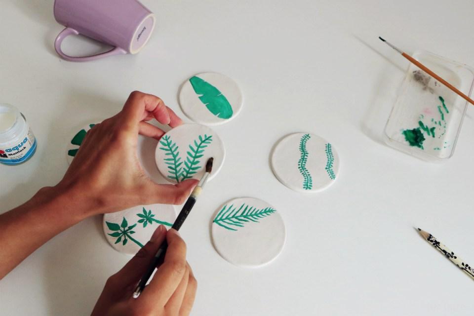 Chez Lisette DIY sous-verres tropicaux 8