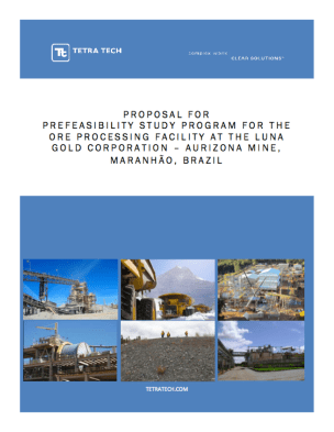 Cover of successful proposal for Prefeasibility Study services for Luna Gold.