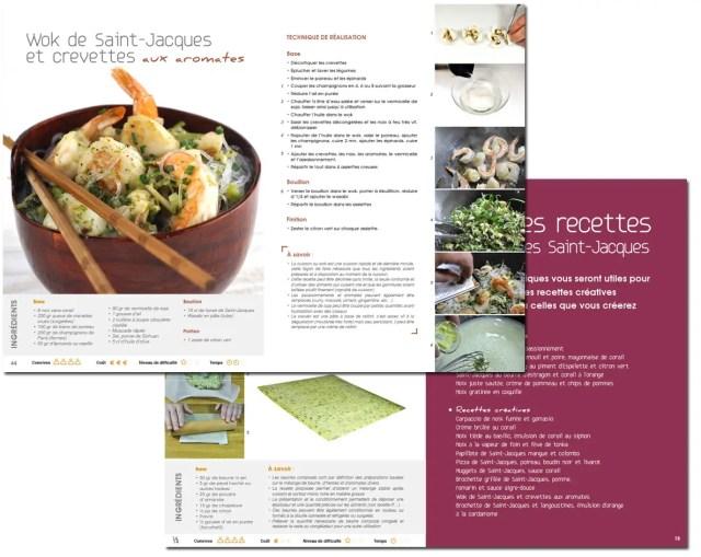 double page livre de recette de coquilles saint-jacques