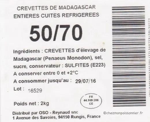 crevette de madagascar 50/70