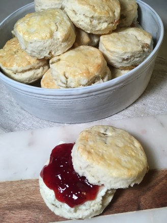 Sultana Scones with Strawberry Jam